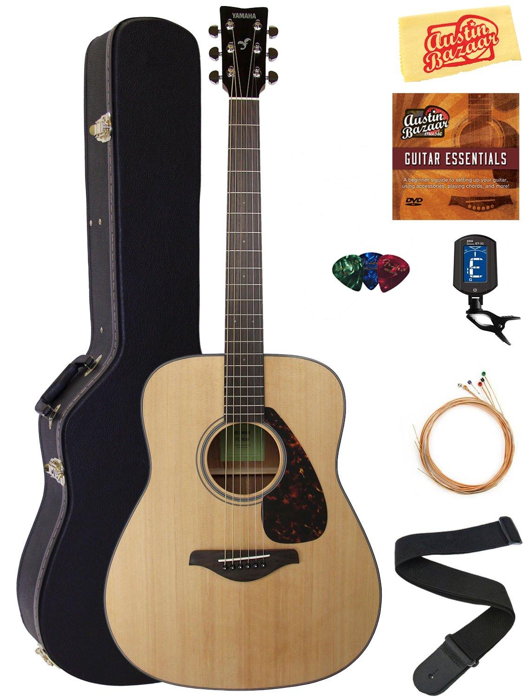 Yamaha FG800 Acoustic Guitar - Natural Bundle with Hard Case, Tuner, Strings, Strap, Picks, Austin Bazaar Instructional DVD, and Polishing Cloth