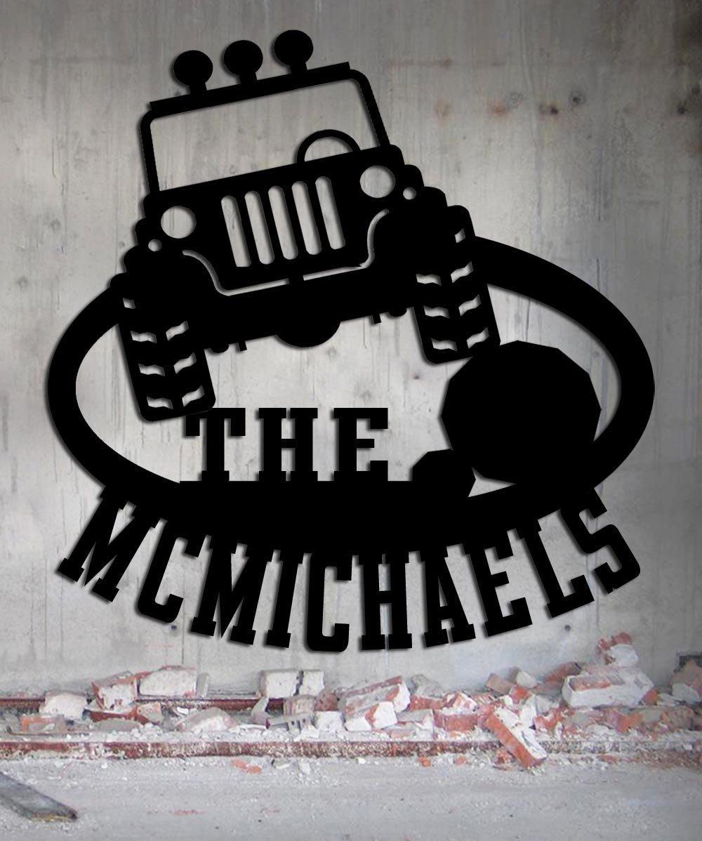 Jeep Metal Wall Art Home Decor Flat Black