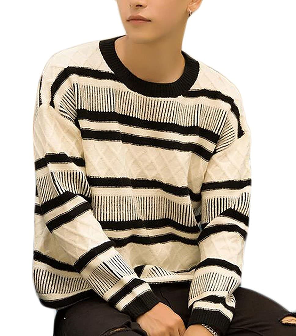 Hokny TD Mens Casual Loose Striped Knit Round Neck Pullover Sweater