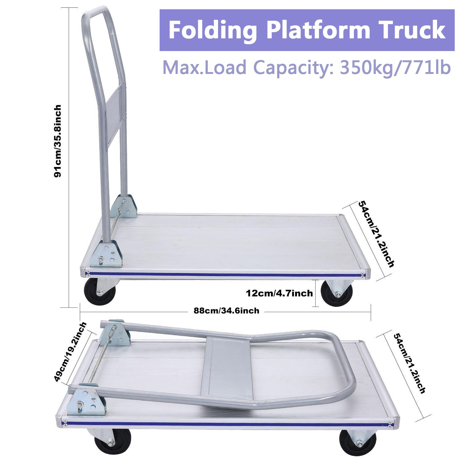Folding Metal Platform Truck Aluminum Hand Cart, 4 Wheels Heavy Duty Flatbed Moving Push Cart Dolly with Non-Marking Polyurethane Casters, 771 lbs Capacity (US STOCK)