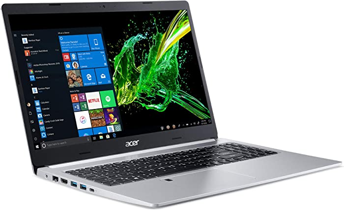 "Acer Aspire 5 Slim Laptop, 15.6"" Full HD IPS Display, 10th Gen Intel Core i5-10210U, 8GB DDR4, 256GB PCIe NVMe SSD, Intel Wi-Fi 6 AX201 802.11ax, Fingerprint Reader, Backlit KB, A515-54-59W2, Silver"