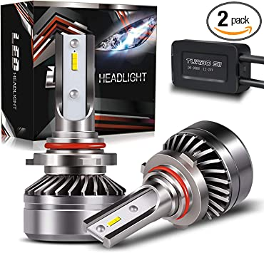 IP67 CSP Chips 6000K Xenon 2-Pack 3 Years Warranty 9006 LED Headlight Bulbs Conversion Kit,Super Bright HB4 Low Beam//Fog Light Bulb with Fan