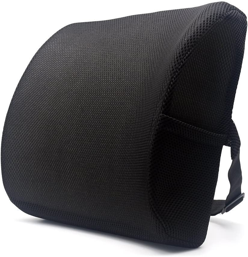 Valuetom Premium Lumbar Support Pillow – Memory Foam Lower Back Support Cushion for Your Home, Office Chair, and Car – New Ergonomic Memory Foam Design with Cool Mesh Fabric Black