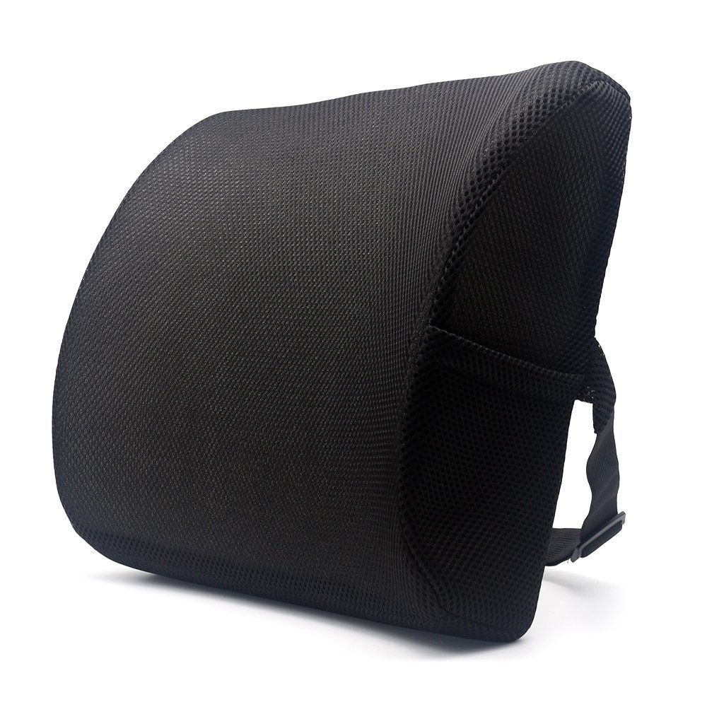 Valuetom Premium Lumbar Support Pillow - Memory Foam Lower Back Support Cushion for your Home, Office Chair, and Car - NEW Ergonomic Memory Foam Design with Cool Mesh Fabric (Black)