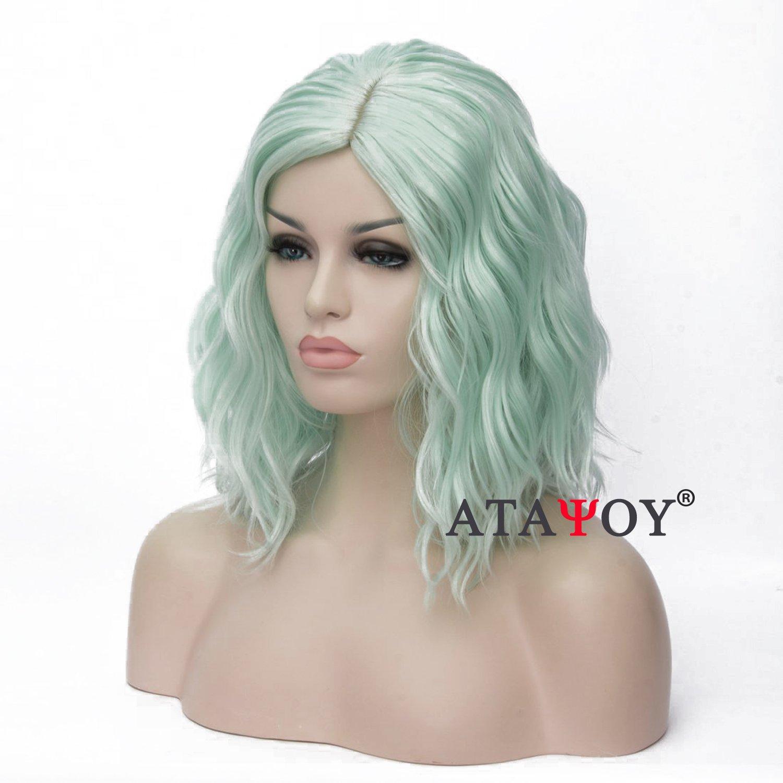 ATAYOU® Breve parrucca riccia sintetica a frangetta verde riccia sintetica soft touch + 1 cappuccio parrucche ATAYOU-WIG
