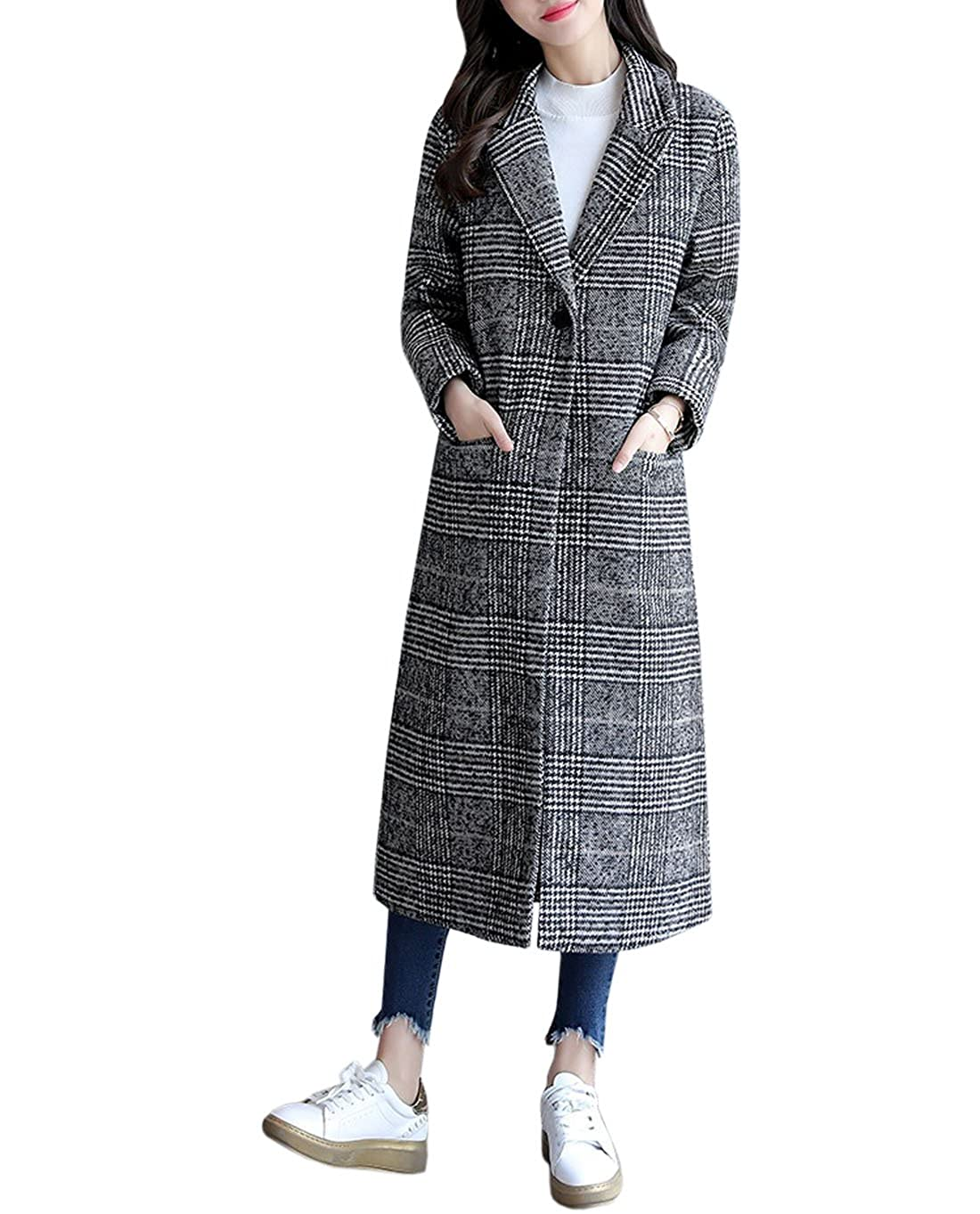 YueLian Women's Winter Woolen Lapel Long Sleeve Lady Plaid Trench Coat Grey