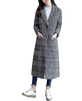 ed8a671e73ae4 ACVIP Femme Manteau Long Trench Jacket Veste à Carreaux Gris Parka (Chinois  L  Poitrine