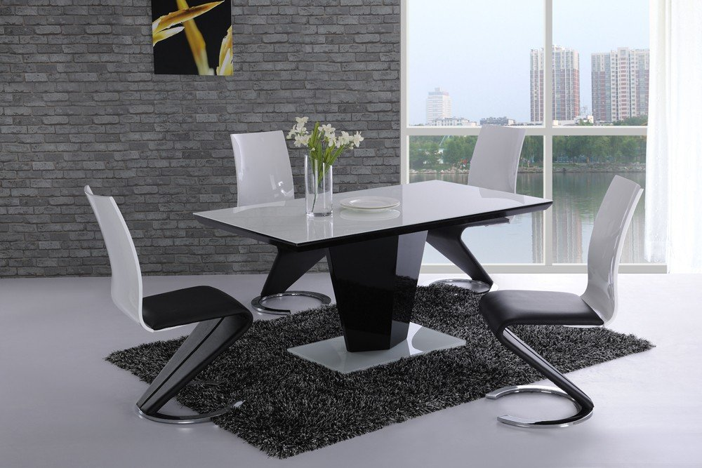Furniture Mill Outlet Leona White Glass Top Black High Gloss Dining ...