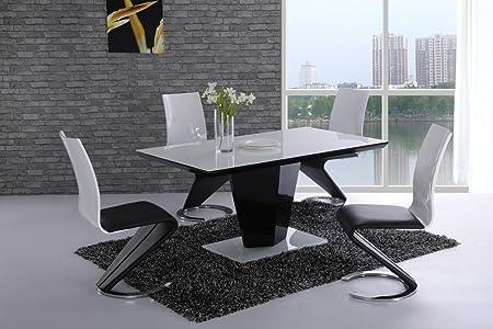 Leona - Mesa de comedor, cristal blanco de brillo alto, diseño ...