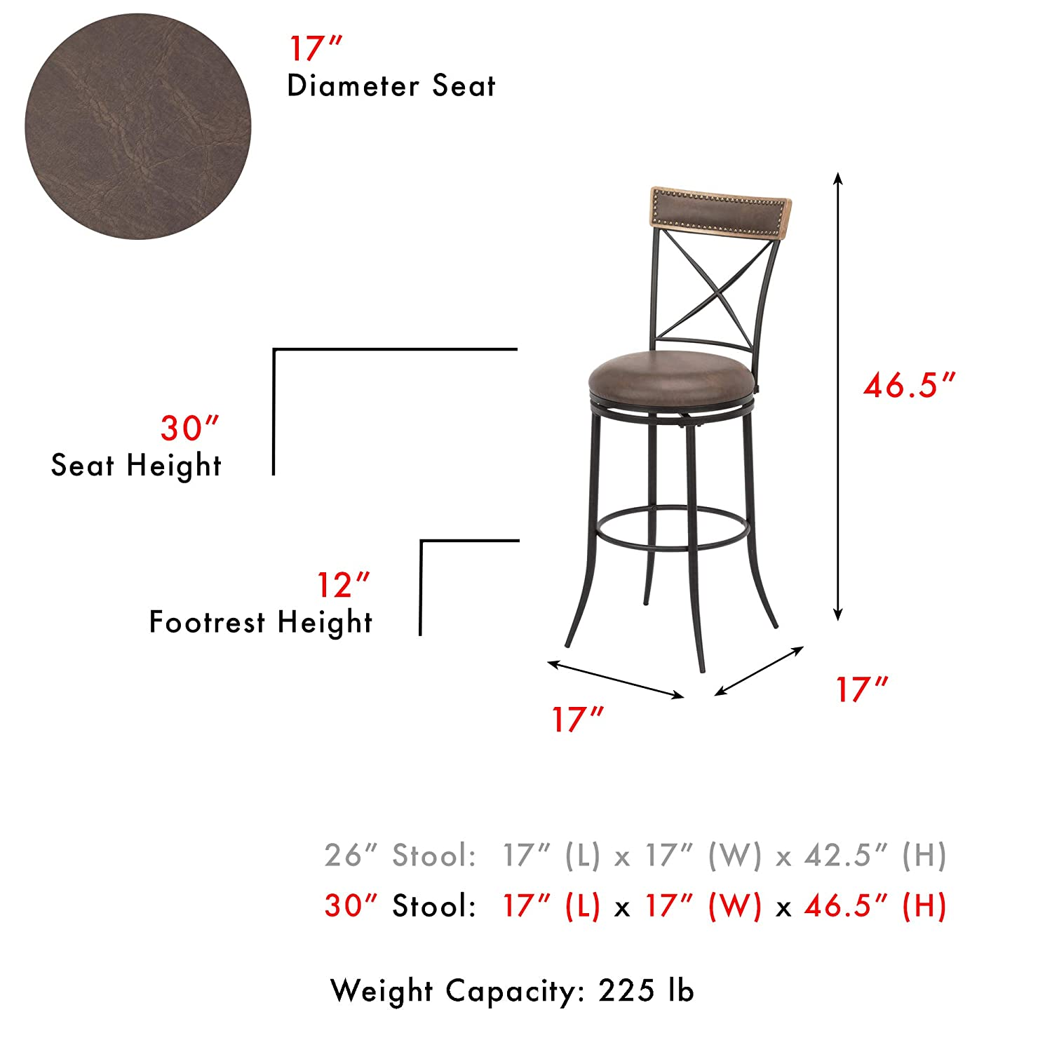 Leggett Platt Boise Swivel Seat Bar Stool with Charcoal Finished Metal Frame, Wood Stain Seatback and Cocoa Faux Leather Upholstery, 30-Inch Seat Height