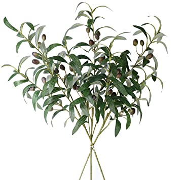 "Jasming 28"" Artificial Olive Branches Fake Fruits Leaves Green Plants For Office Crafts Room Decoration,Pack Of 3 by Jasming"