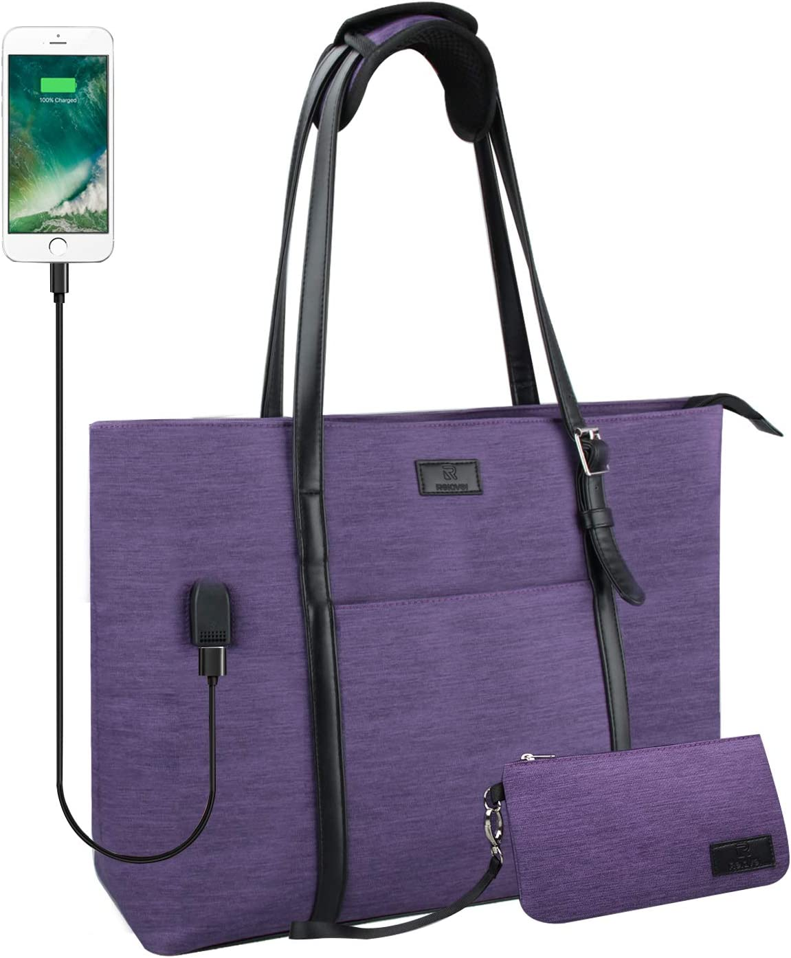 USB Laptop Tote Bag,Chomeiu Woman 15.6 inch Laptop Organizer Bag Teacher Work Purse (Purple)