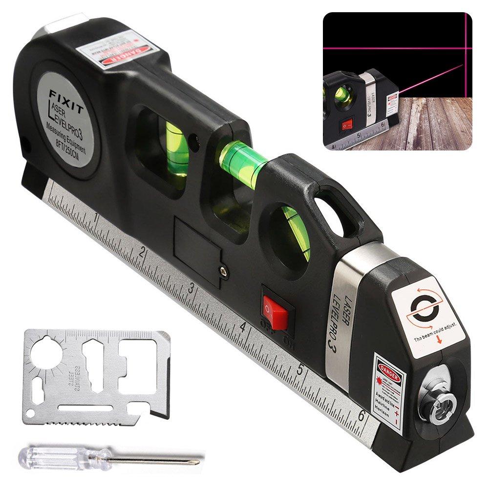 BRILLIFE Laser Leveler Spirit Level Line Lasers Ruler,Gradienter Horizontal Ruler Measure Line Laser 8ft Adjusted Standard & Metric Scale Measure Tape Ruler,[NEW Add 2pcs Tools As Surprise Gift]