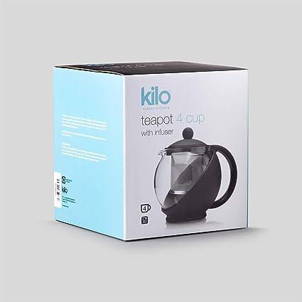 Kilo D07 - Tetera de cristal con infusor de acero inoxidable (1400 ...