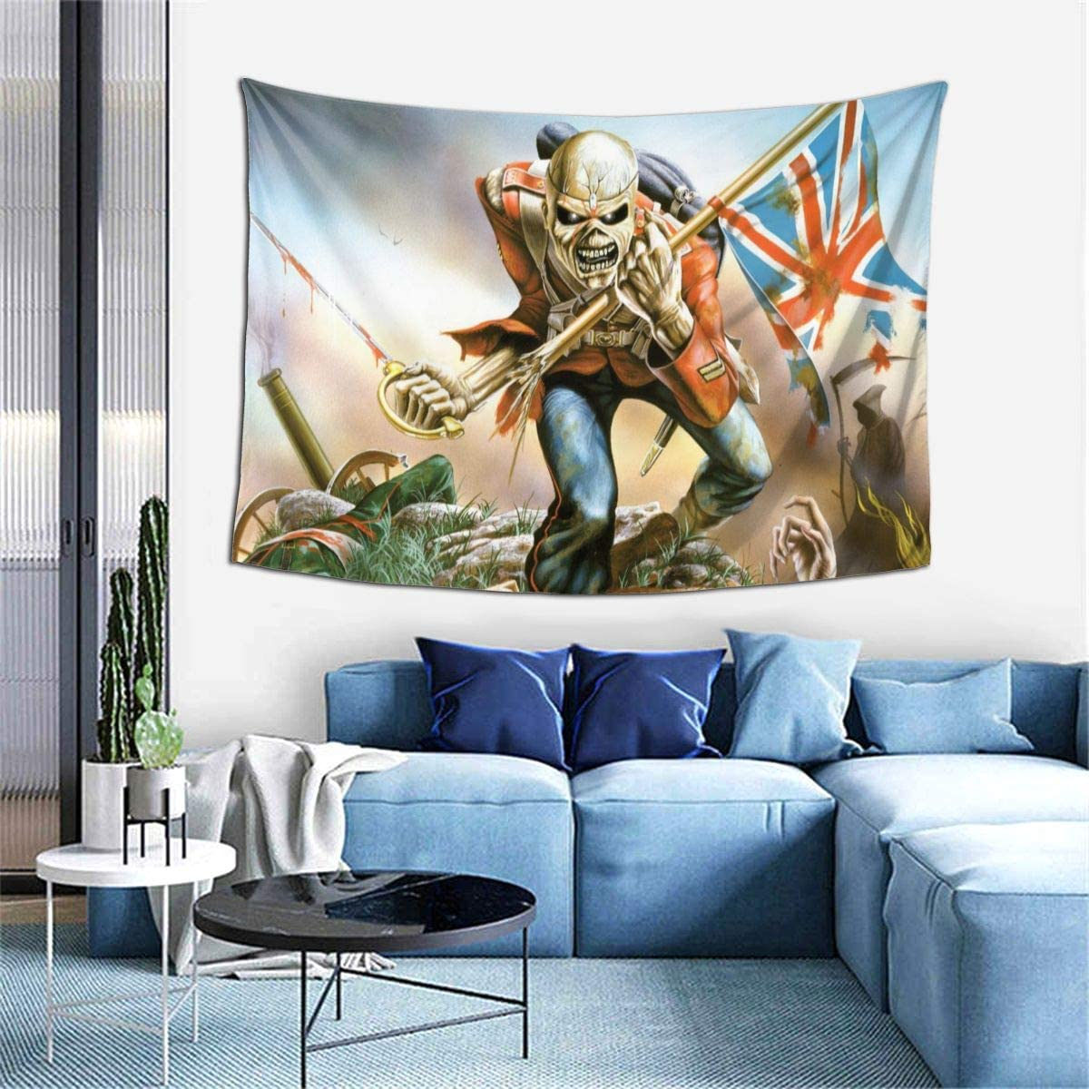 Sadie Mae Ir-on Mai-den Tapestry Beach Blanket Wall Hanging Tapestries Art For Living Room Collage Dorm Bedroom Inhouse Home Decor 60x40 Inch
