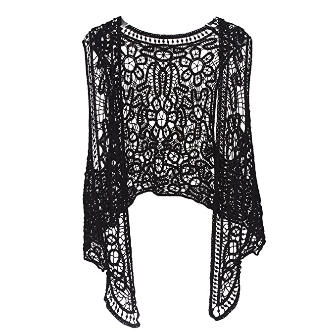 f016cf5b33 Pirate Curiosity Open Stitch Cardigan Boho Hippie Crochet Vest (Black)   Amazon.ca  Luggage   Bags