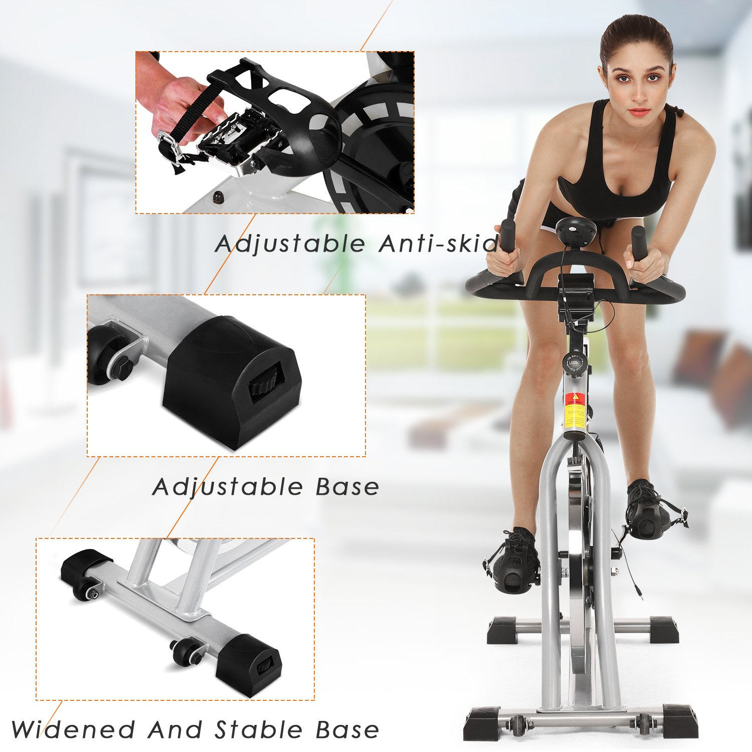 ANCHEER Stationary Bike, 40 LBS Flywheel Belt Drive Indoor Cycling Exercise Bike with Pulse, Elbow Tray (Model: ANCHEER-A5001) (Sliver) by ANCHEER (Image #8)