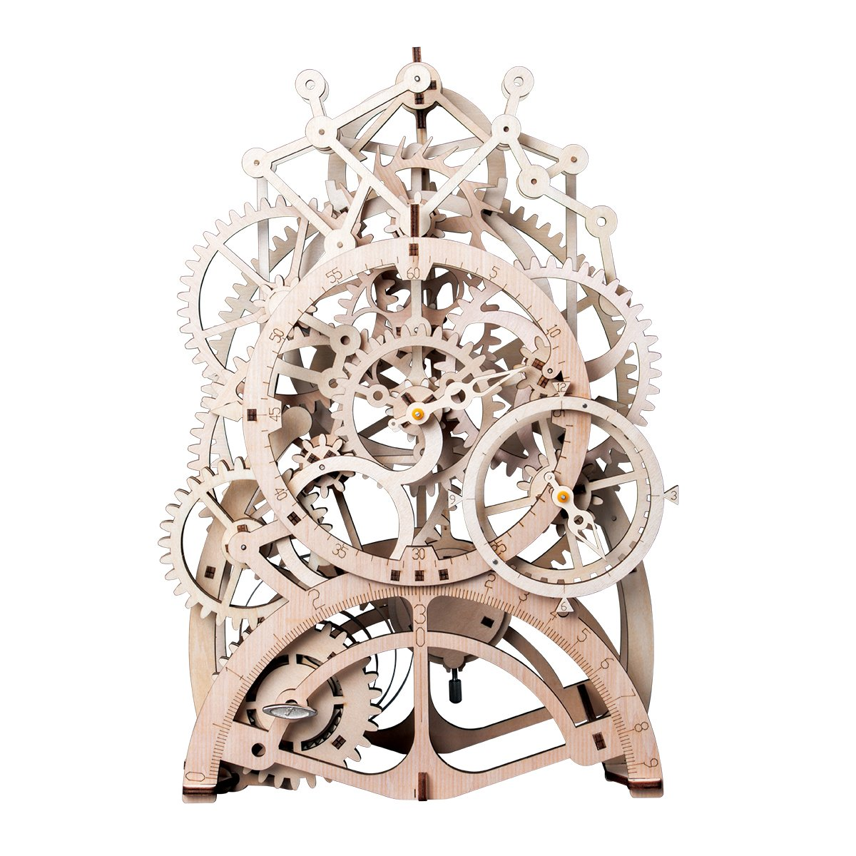 ROBTOIME 3D Assembly Puzzles Wooden Mechanical Gears Decor Laser-Cut Pendulum Clock Model Kit Best Engineering Toys for Teens ROBOTIME