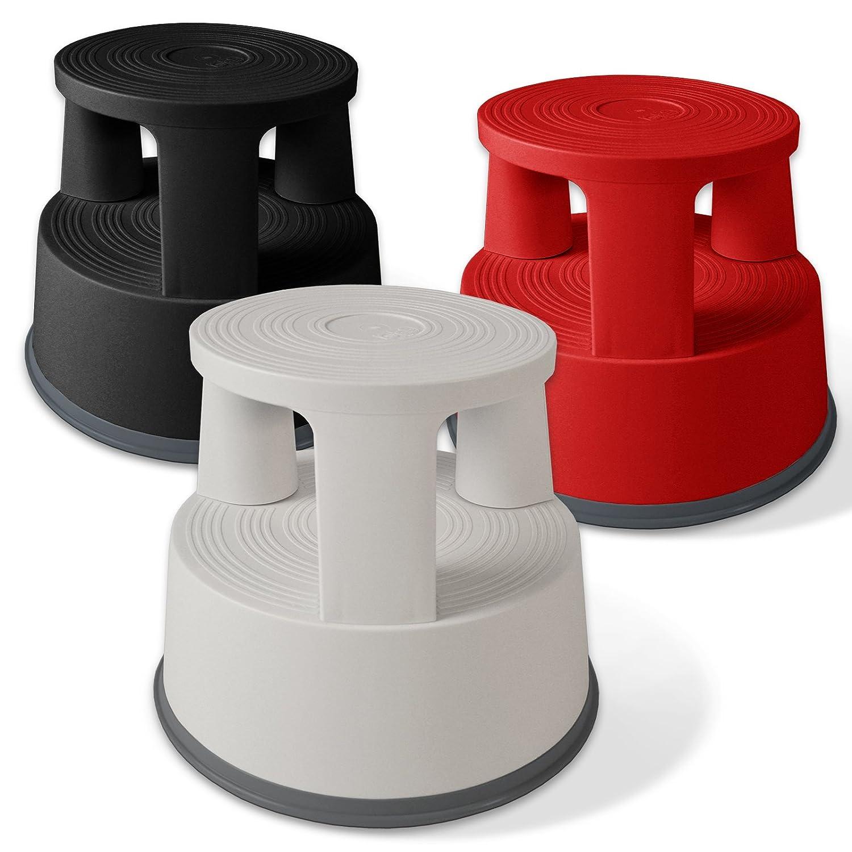 surface stri/ée s/écurit/é optimale gris clair Tabouret marchepied casa pura/® roulant en plastique