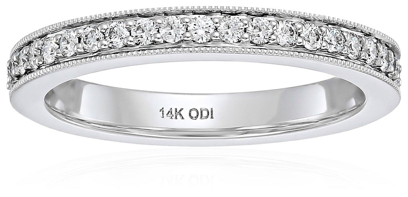 14k White Gold Diamond Millgrain Edge Eternity Ring (1/2cttw, I Color, I1 Clarity), Size 9