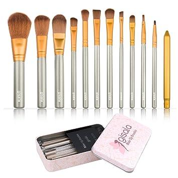 Amazon.com: Gisala 12 Pcs Makeup Brush Set Premium Cosmetics Synthetic Kabuki Makeup Brushes, Foundation, Blending Blush, Eyeliner, Face Powder Brush Kit ...