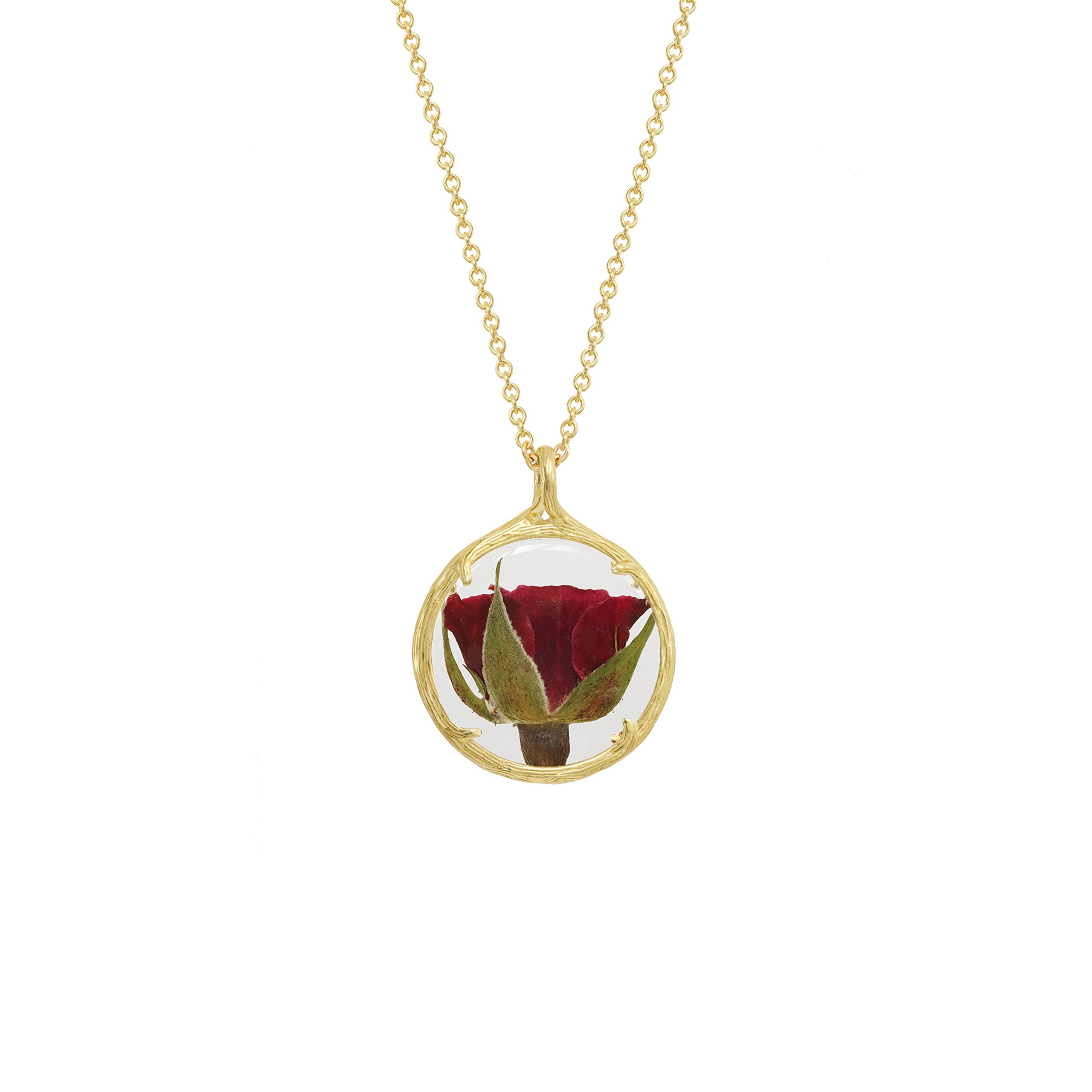 Botanical Pendant Necklace with Delicate Dried Flowers in Glass Charm (Rose, gold-plated-base)