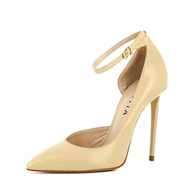 Evita Shoes Lisa Damen Pumps halboffen Glattleder
