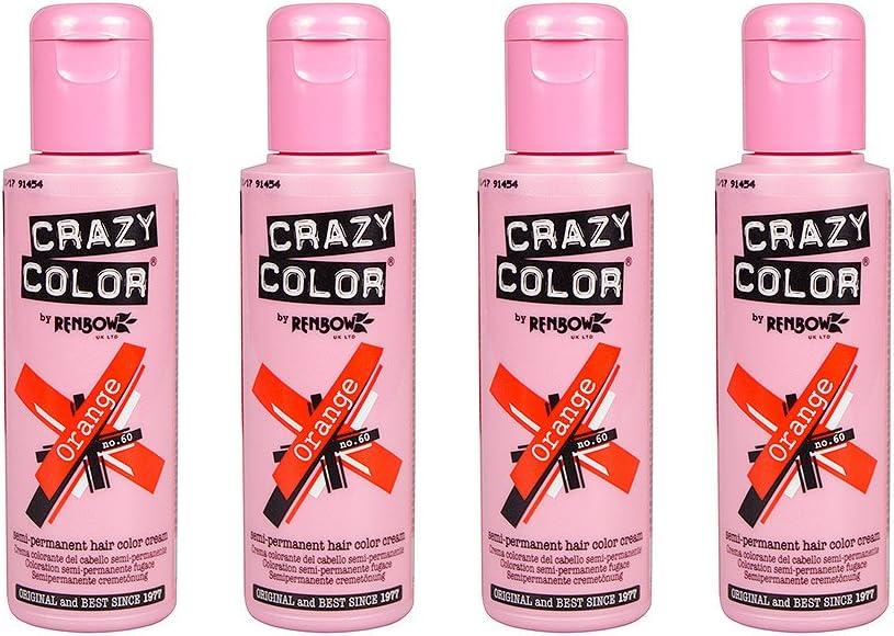 Renbow - Crazy Colour - Cremas de color semi-permanente para el cabello, 100 ml, 4 unidades