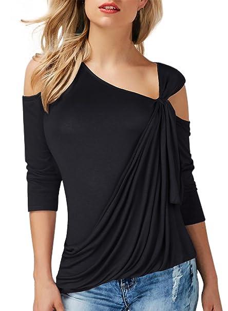 75d27279816d ZEAMO Women Cold Shoulder T Shirt 3/4 Sleeve Asymmetrical Hem Blouse Tops  (Small