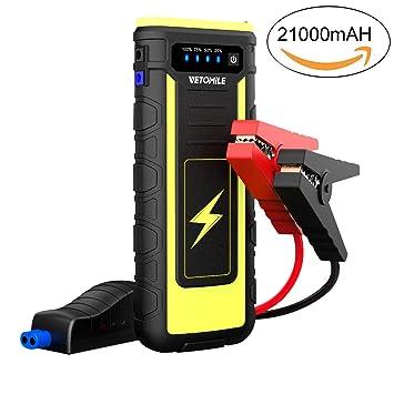VETOMILE Arrancador de Coche 21000mAh 800A,Jump Starter para Coches, Motos etc, Arranque hasta 6.5L Gas o 3.0L Diesel, Batería 12V (Dual USB ...