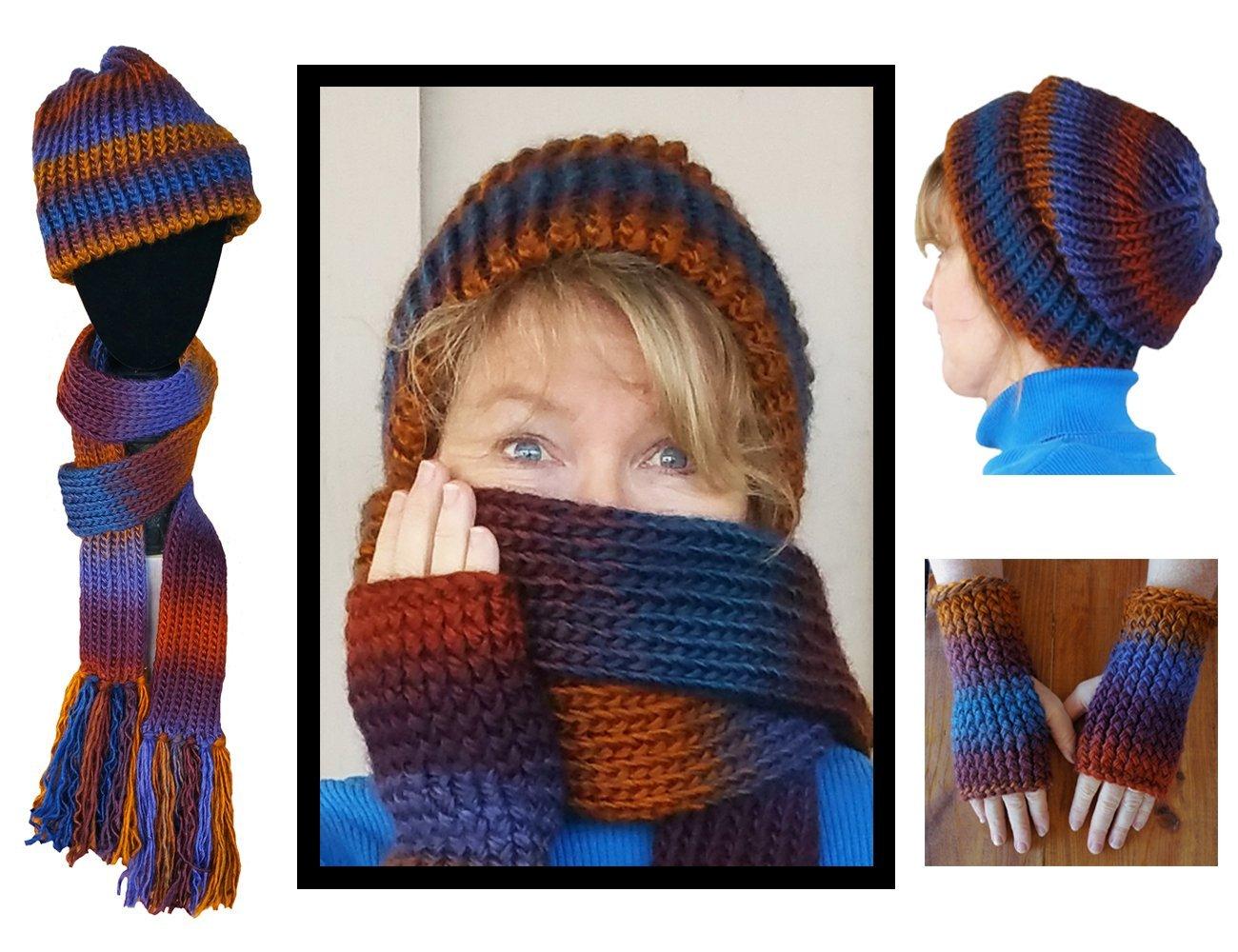 Hand Knitted Silken Mountain Range Hat, Scarf and Fingerless Gloves Set
