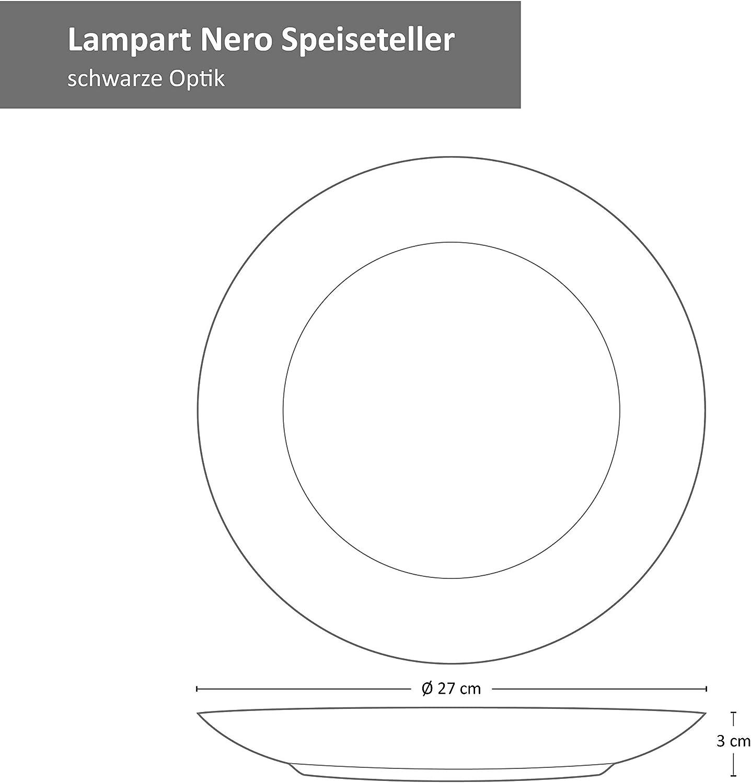 Suppenteller /& Kuchenteller I Steingut Teller Set I Schwarz I Essteller MamboCat Lampart Nero 18-TLG