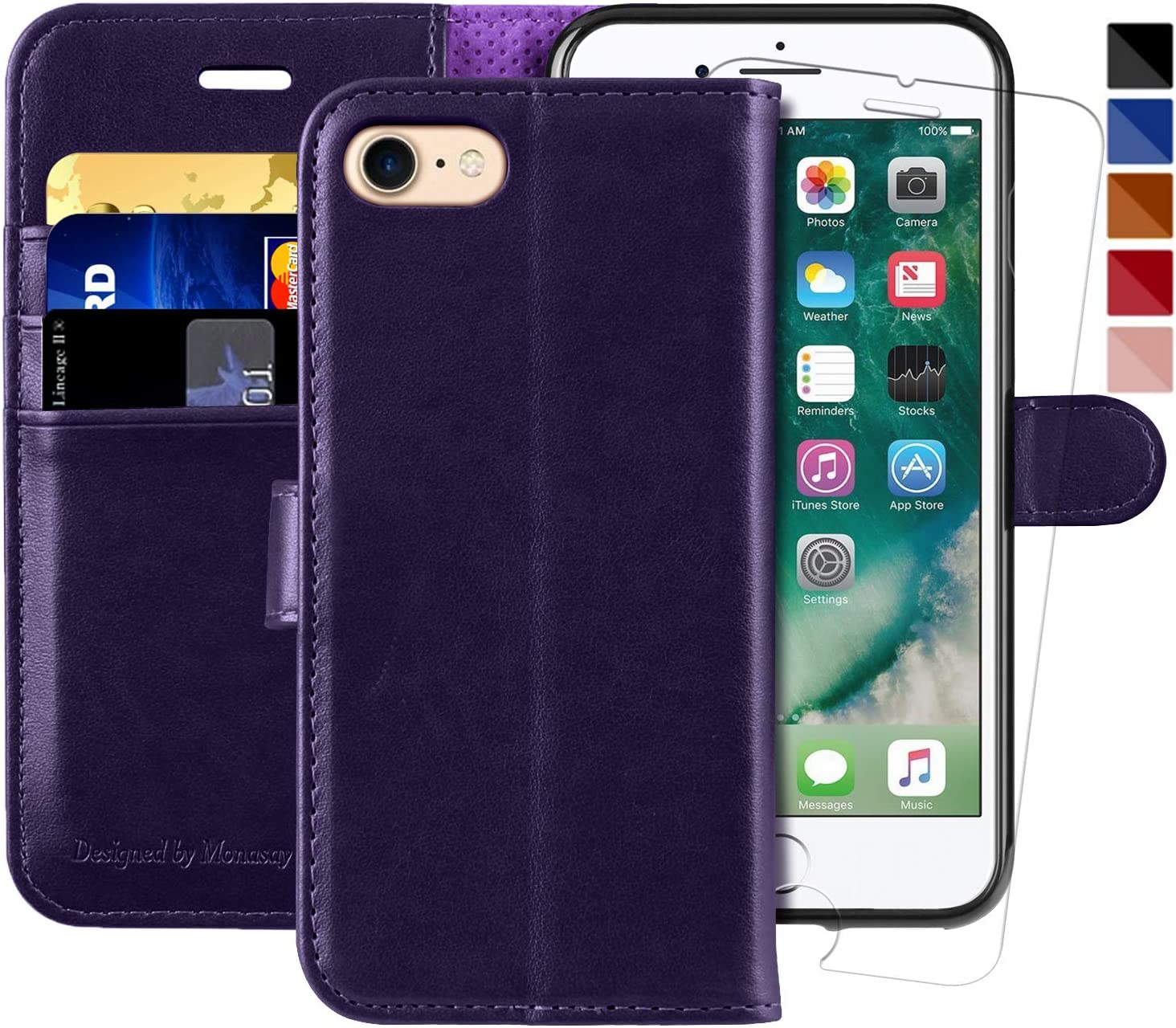 MONASAY iPhone 7 Wallet Case//iPhone 8 Wallet Case//iPhone SE 2020 Case,4.7-inch, Flip Folio Leather Cell Phone Cover with Credit Card Holder for Apple iPhone 7//8//SE2 Glass Screen Protector Included