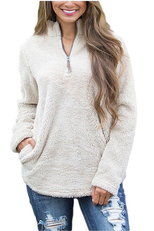GREMMI Womens Shirt Long Sleeve Soild Fleece Zip Pullover Tunic Jacket Sweatshirt Top