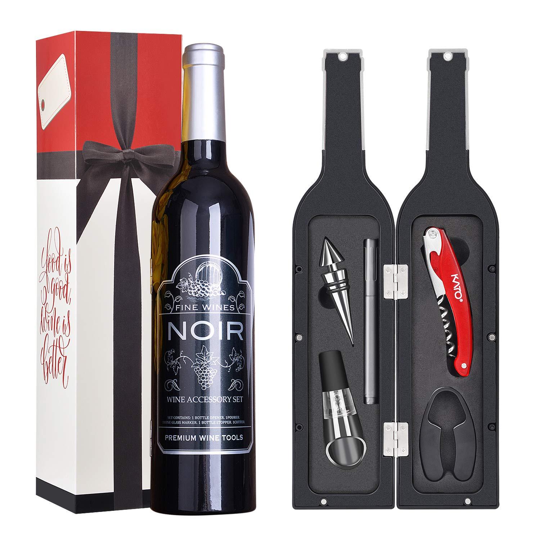 Wine Corkscrew Vacuum Stopper Gift Set, YOBANSA 4 Pieces Luxury Accessory Gift Set in Bottle Shaped Wine Opener Set