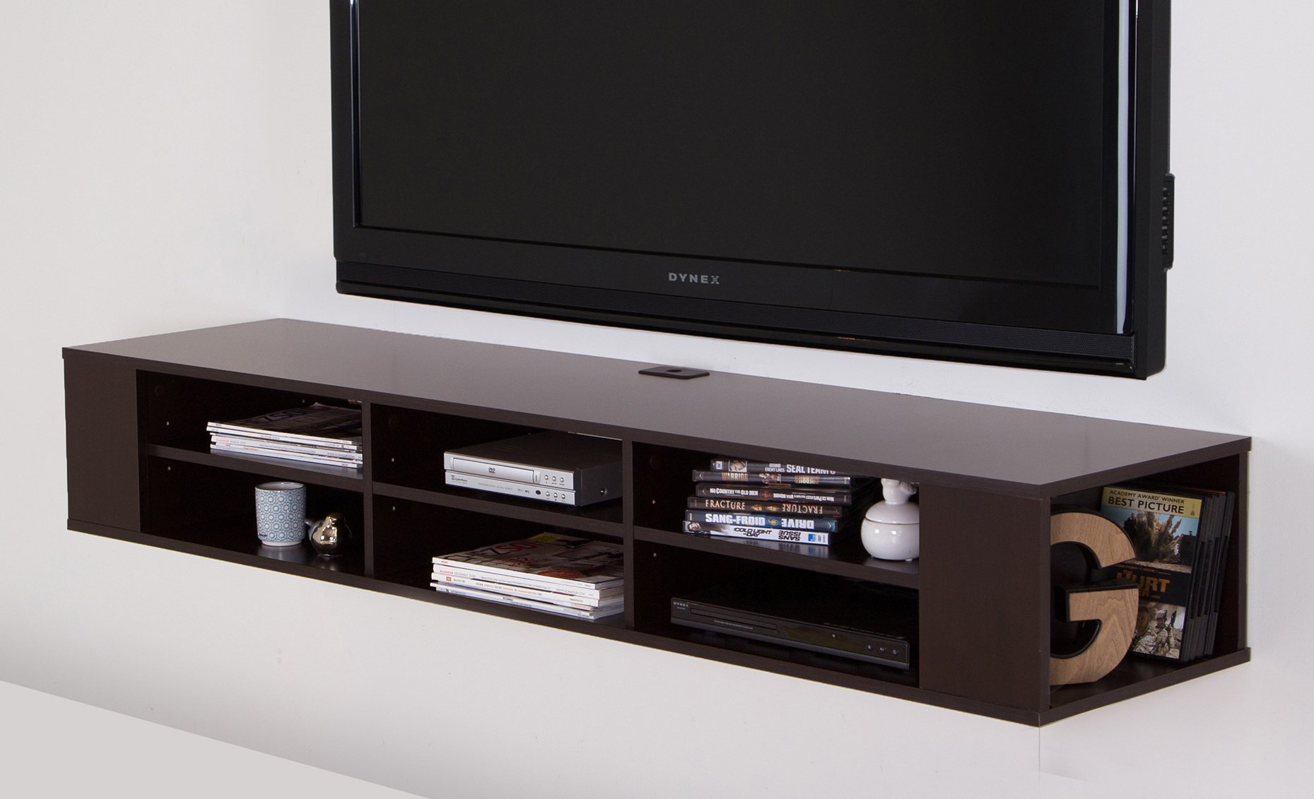 South Shore City Life Wall Mounted Media Console - 66'' Wide - Extra Storage - Chocolate by South Shore