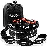 ハンモック用ベルト Wolfyok ハンモック固定ロープ 2本セット 収納袋とフック付き (長さ3.65m ノード20個 耐荷重量650kg) キャンプ アウトドア用