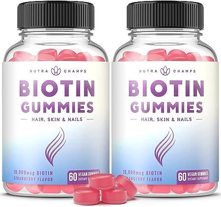 (2 Pack) Biotin Gummies 10,000mcg [Highest Potency] for Healthy Hair, Skin & Nails for Adults & Kids - 5000mcg in Each Gummy Vitamin - Vegan, Non-GMO, Pectin-Based Hair Growth Supplement