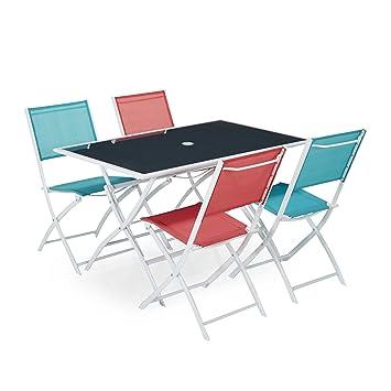 Regal Ensemble 4 Chaises Et 1 Table De Jardin Multicolore