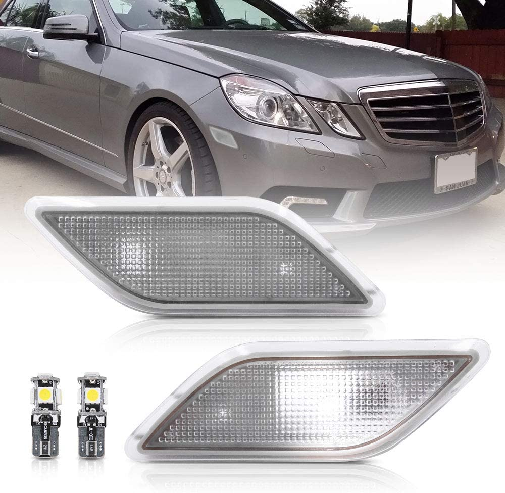 Clear Lens Front Bumper Side Marker Lights Lamp Housing for 2010-2013 Mercedes-Benz W212 E-Class Pre-LCI E350 E550 E63 AMG Sedan//Wagon Driver Fender Sidemarker OEM Lamps Replacements