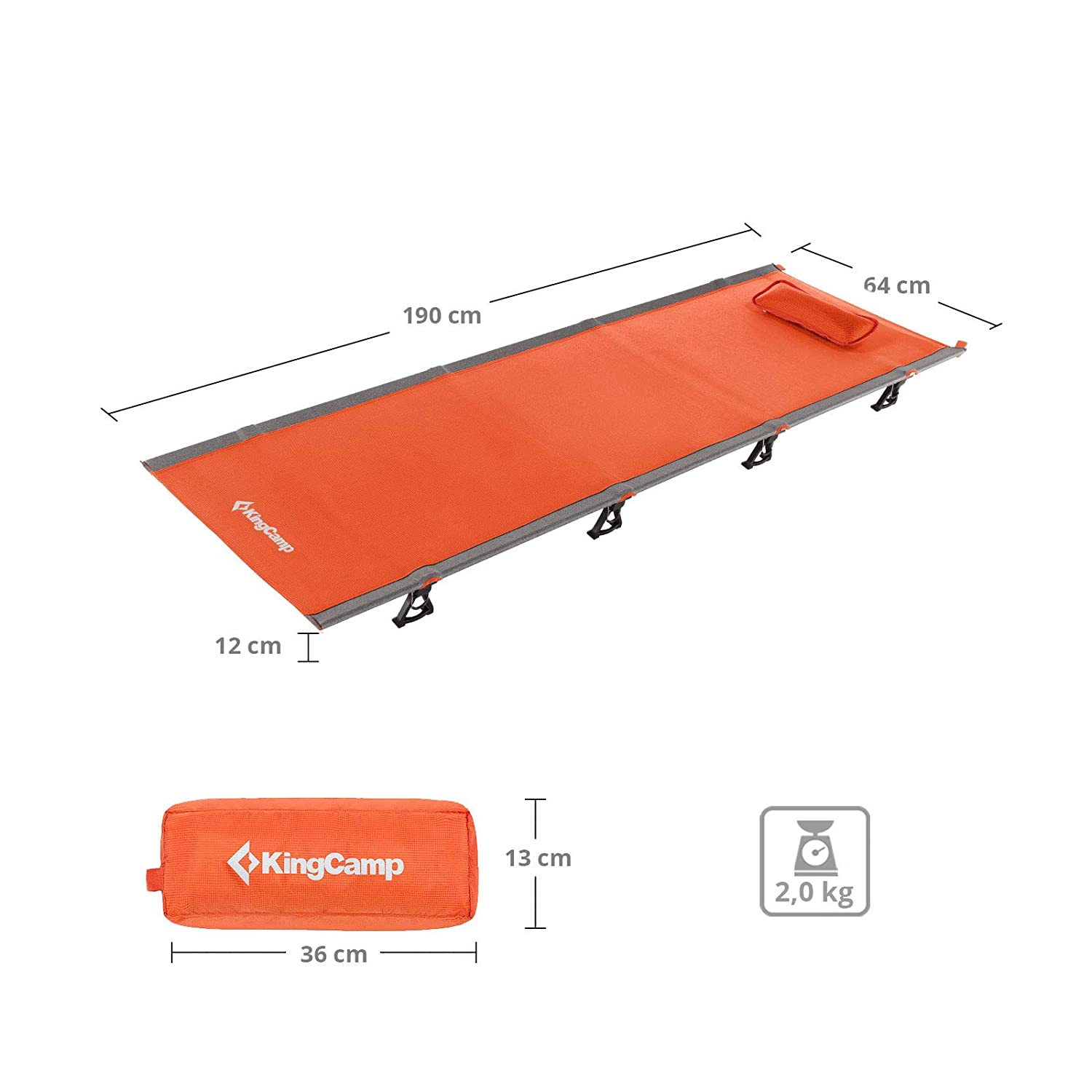KingCamp Ultralight Folding Portable Camping Cot Bed with Weight Capacity 120 Kg for Indoor Outdoor Camping Beach Garden Orange