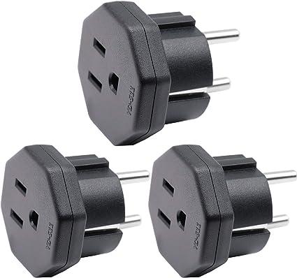 Enchufe Adaptador de EEUU/JP/CA a UE/DE/FR/IT/ES, Adapta Aparatos Eléctricos de EEUU/CA/JP a Enchufe de 2 Clavijas UE/Alemania (3 Piezas Negro): Amazon.es: Electrónica