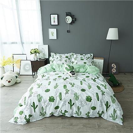 auvoau simple cactus bedding childrens cartoon duvet cover set girl bedding set green cactus reversible duvet - Cactus Bedding