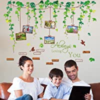 Amaonm Green Leaves Flower Vines Family Picture Photo Frame, Flying Birds, Lettering Wall Decal Art Decor Wall Stickers Wallpaper for Bedroom Living Room