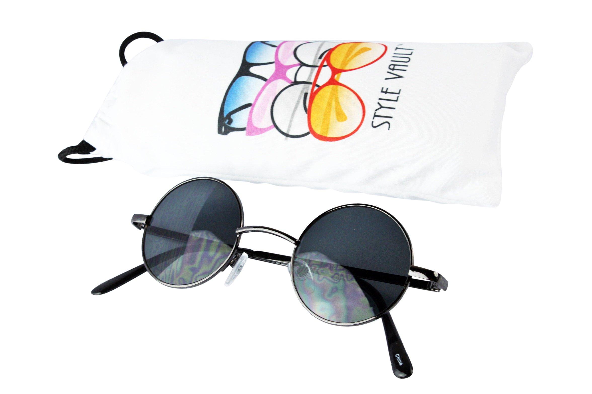 Kd244-vp Childrens (3~12 year old) Round metal Sunglasses (SPH Gunmetal-dark)