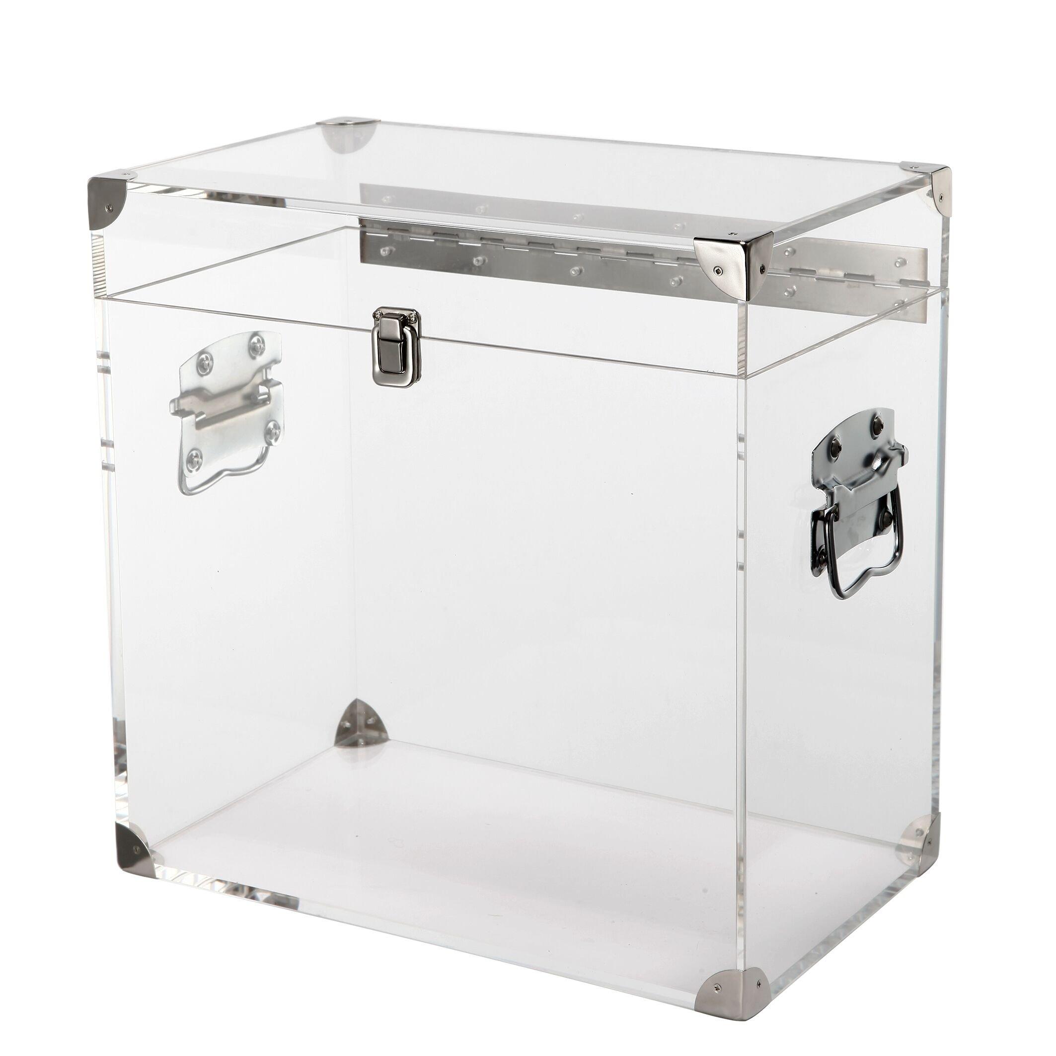 14x9x14 Acrylic & Metal Urban Chic decorative Square Clear Large Keepsake box