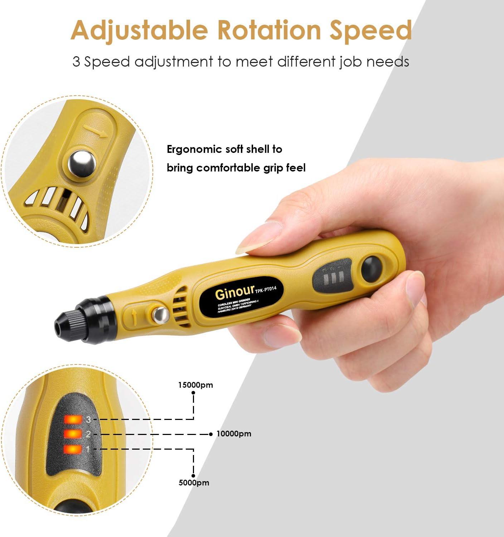 Tacklife PCG01B 3.7V Li-on Cordless Rotary Tool Three-Speed with 31-Piece Rota