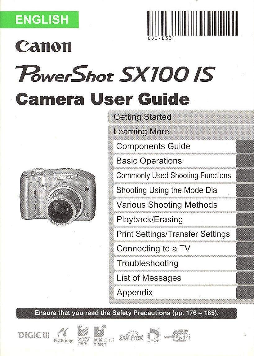 canon powershot sx100 is original user guide instruction manual rh amazon com canon powershot sx100 user manual Canon SX100 Is Digital Camera
