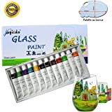 Magicdo® 12 Cols Glass Paint With Palette, Professional Glass Colour Set, Quality Non-Toxic Acrylic Paint on Glass, Stained Craft Paint Set, Rich Pigment(12 x 12ml)