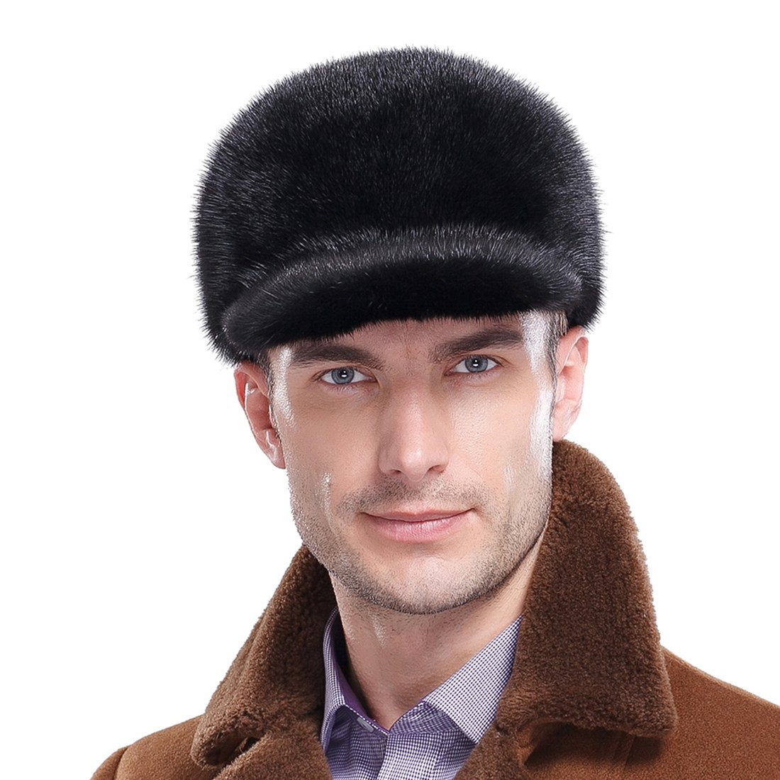 URSFUR Men's Mink Full Fur Baseball Caps (One Size, Black)